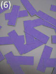 geschnitten in 24 adhäsive Chips Stoff einlagig kaschiert* auf starkem Papier (Chipgröße 4,5 cm x 1,5 cm)